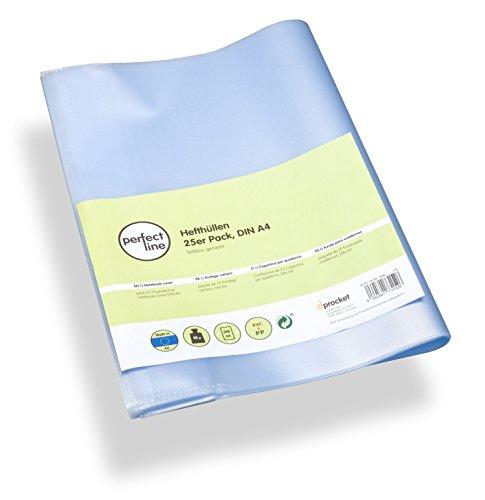 perfect line 25 buste per quaderni trasparenti formato A4, copertina per libro flessibile & pulibile, proteggi quaderno con copertine, custodia di protezione, pellicola protettiva, Coprilibri plastica