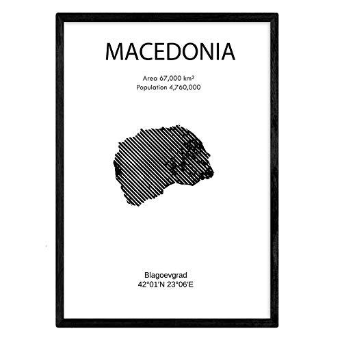 Macedonië poster. Bladeren uit landen en continenten. A3-formaat