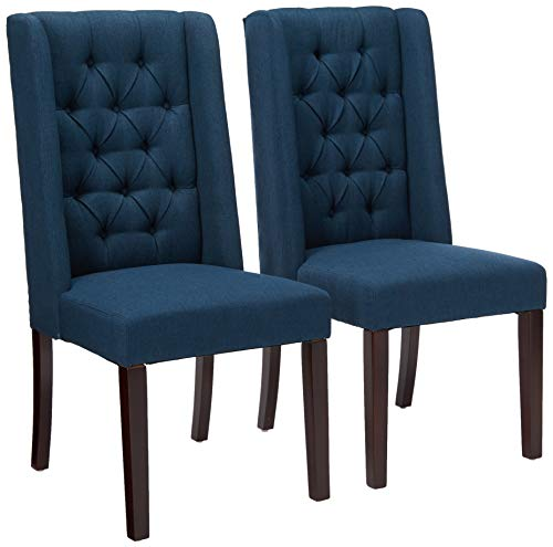 Christopher Knight Home 302442 Blythe Tufted Fabric Dining Chairs, 2-Pcs Set, Navy Blue / Brown