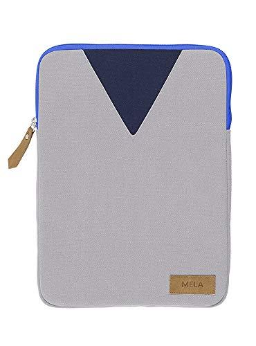 Laptophülle 13' Mela aus Bio Baumwoll Canvas - Nachhaltig mit Fairtrade Cotton, GOTS & Grüner Knopf Zertifizierung, Farben Laptop-Taschen:grau/hell-blau, Größe Laptop-Taschen:13 Zoll