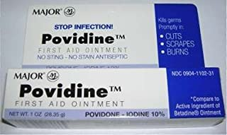 Major Povidine Povidone Iodine 10% First Aid Ointment 1 Oz / 28.35gm For Cuts Scrapes Burns (Compate to Betadine)