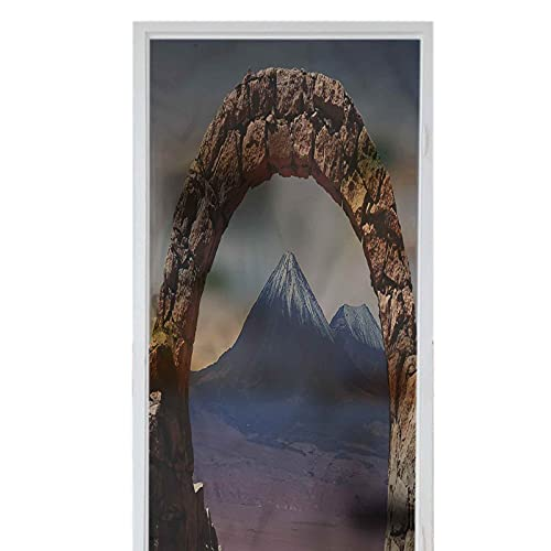 Decorative Window Film for Home Non Adhesive Frosted Film Volcano South American Desert Arch 23.6' x 78.7' Privacy Window Film