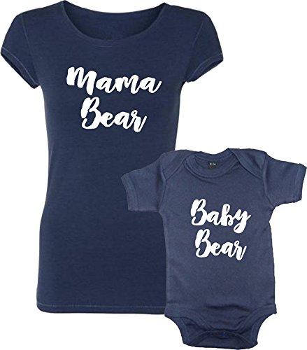 Ensemble DE Tee Shirt Mama Bear ET Baby Bear Bleu Marine