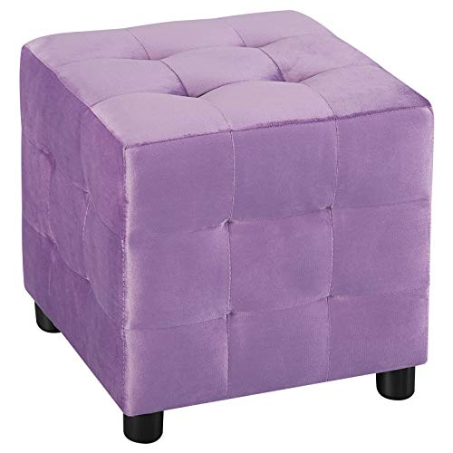 IDIMEX Würfelhocker Bazar aus Samt, Sitzhocker Sitzwürfel Polsterhocker Stoff Samtstoffbezug, in lila