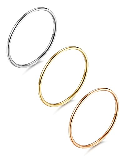 LOYALLOOK 1mm Stainless Steel Women's Plain Band Stacking Midi Rings Comfort Fit Wedding Band Ring Size 6