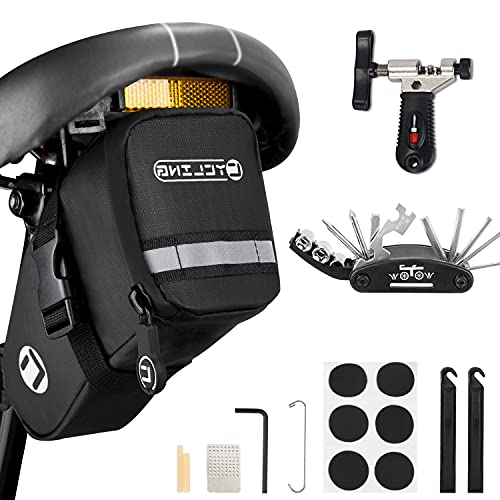 Eyein Fahrrad Satteltasche mit Fahrrad Reparatur Set, 16-in-1 Multitools Faltbares Reparatur Werkzeug Set, Fahrrad Ketten Werkzeug, für MTB Rennräder E-Bike Citybike Sportbike Cruiserbike BMX-Bike