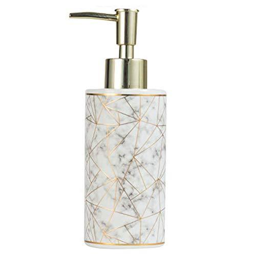 Dispensador de botella de bomba, Cerámica10.5 oz / 300 ml Dispensador de jabón líquido de ducha, botella de bomba vacía recargable para gel de baño, champú y acondicionador