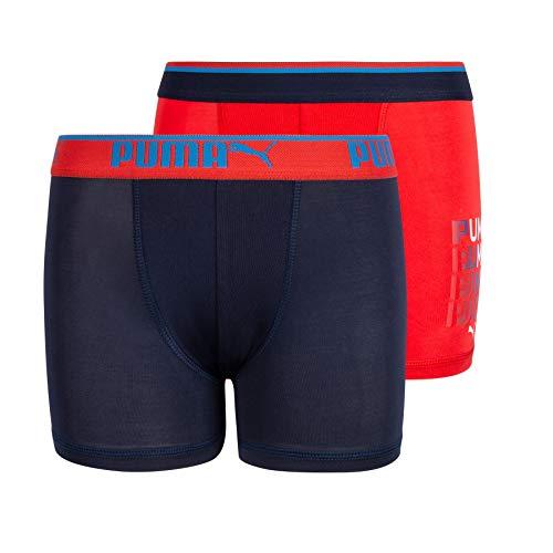 PUMA Jungen No. 1 Logo Performance Boxer Brief Retroshorts, Rot/Marineblau, Medium