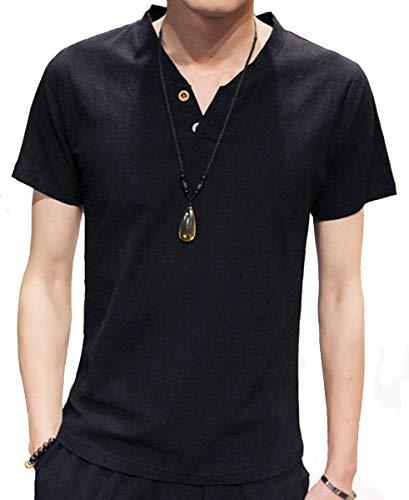 RanSy スウェット Vネック 半袖 Tシャツ メンズ 麻 無地 ストリート系 カジュアル 夏服 シャツ 黑 2XL
