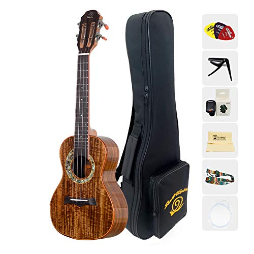 Snail Ukulele 26 inch Tenor Size Vintage Solid Flame Acacia Ukelele for Adult Starter and Student with Kit(Gig Bag Digital Tuner&Spare Carbon String and Picks) (26inch)