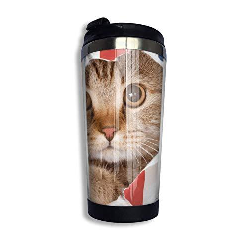 Vaso de café de viaje Taza de acero inoxidable Regalo para amantes de los animales Gato lindo