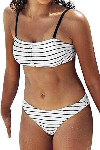 CUPSHE Women's White Striped High Leg Bandeau Buttons Bikini Sets, XXL