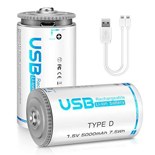 Vecukty D Size 2PCS LR20 Pilas Li-Ion Baterías Recargables 1.5V 5000mAh, Dos Maneras de Carga Tipo-C y Micro USB, NO Compatible con CR123A