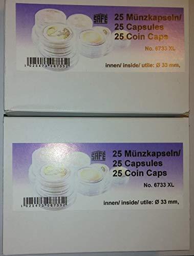 50 x SAFE CAPS 33 mm / - Ideal para medallas - monedas - sistema de monedas - 20 suizos Franekn - 20 Mark DDR - 3 Mark alemán Imperio - Krugerrand 1 onza de oro - 50 $American Eagle oro Dólares - 10 euros/DM - moneda de - fundas