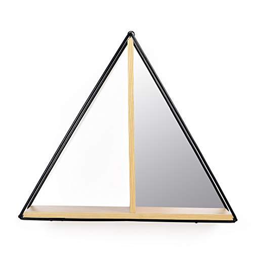 Nicho Triangular Madeira Com Espelho Home Glass Colorido