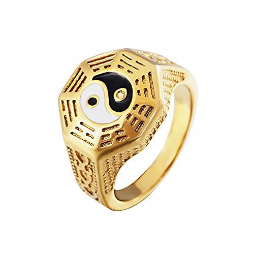 Anillo De Equilibrio De Tai Chi Yin Yang De Acero Inoxidable para Hombre, Banda De Talismán, Anillos Taoístas Budistas Vintage,Oro,13