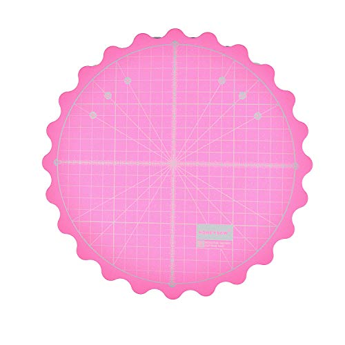 "HONEYSEW Circle Rotary Cutting Mat Diameter 20cm(8"") Self Healing for Any Table Protection Board Quilt Fabric Doing Crafts Sewing Quilting Projects Rotating Cutter Pad (Pink Color)"