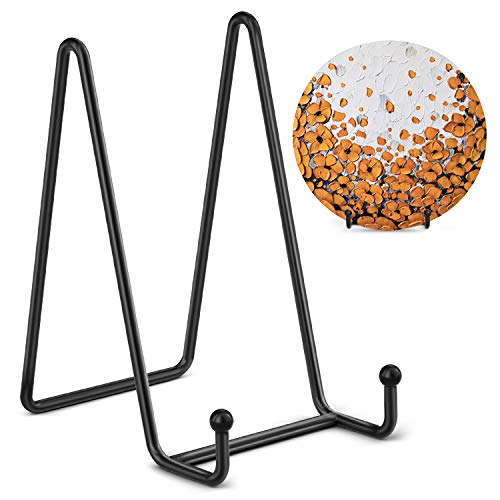 TR-LIFE Plate Stands for Display - 6 Inch Plate Holder Display Stand + Metal Frame Holder Stand for Picture, Decorative Plate, Book, Photo Easel (2 Pack)