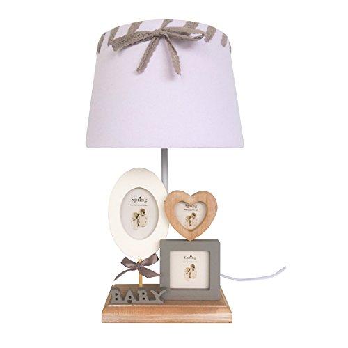 Rebecca Mobili Lampe de Chevet Lampe à Poser Abat-Jour Blanc Gris Bois Naturel Tissu 3 Chadre-Photos Style Classique Chambre d'enfants Salon Max 60 W E27 GLS (Cod. RE6206)