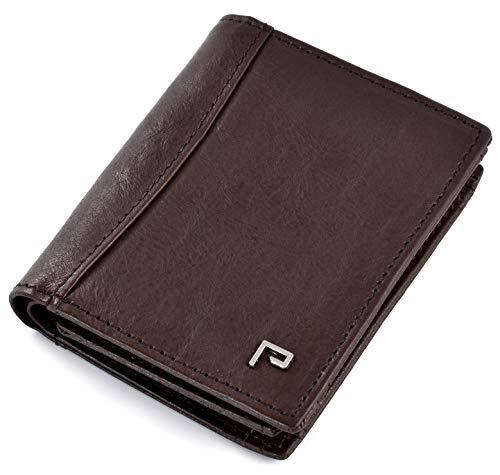 Geldbeutel Männer | Geldbörse Leder Herren RFID Schutz | mit Münzfach [dunkel-braun]