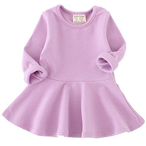 Csbks Toddler Baby Girls Long Sleeve Cotton Dress Solid Ruffle Tops 3T Purple