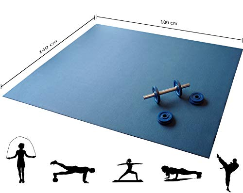 Q324® Active die extra große rutschfeste Fitnessmatte - 180x140cm Oeko-Tex Trainingsmatte in Ocean Blue Made in Germany
