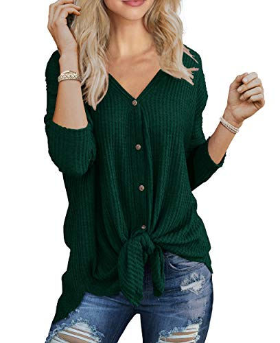 IWOLLENCE Womens Loose Henley Blouse Bat Wing Long Sleeve Button Down T Shirts Tie Front Knot Tops Dark Green X-Large