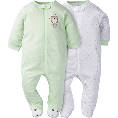 Product Image of the Gerber Baby 2 Pack Zip Front Sleep 'n Play, Teddy, 0-3 Months
