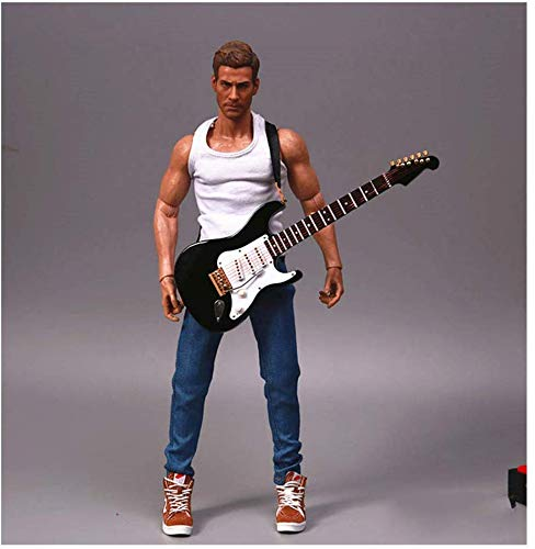 ZSMD E-gitaar model 1/6 verhouding soldaat muziekinstrument zwart 18cm voor HT, VERYCOOL, Enterprise Hottoy, Play, PHICEN (C)