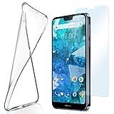 moex Silikon-Hülle für Nokia 7.1   + Panzerglas Set [360 Grad] Glas Schutz-Folie mit Back-Cover Transparent Handy-Hülle Nokia 7.1 2018 Hülle Slim Schutzhülle Panzerfolie