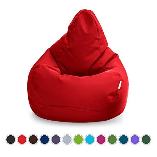 Loft 25 Puff Pera Gamer | Silla Puff Pera para Exteriores Interiores Sala | Resistente Al Agua | Limpieza Fácil | Diseño Ergonómico para Soporte del Cuerpo | Durable Y Cómoda (Rojo, Puff)