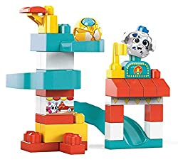 The Amusement Park playset includes 2 Peek A Blocks, 29 big building blocks, 3 slides and a launcher  All-new design for action-reaction play: Place your Peek A Blocks animal on a block to activate its peek-a-boo surprise  Ideal for ages 1+, and en...