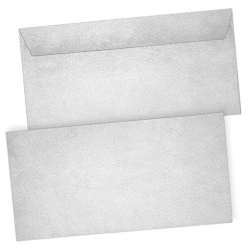 50 x Briefumschläge Altes Papier Vintage Grau - DIN lang - haftklebend ohne Fenster