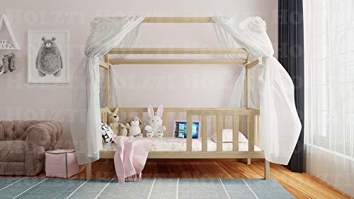 Holzti - Cuna con dosel, cama de casa de madera de pino maciza, con guía y orificio para baúles o cajones (200 x 90 cm, natural con blanco)