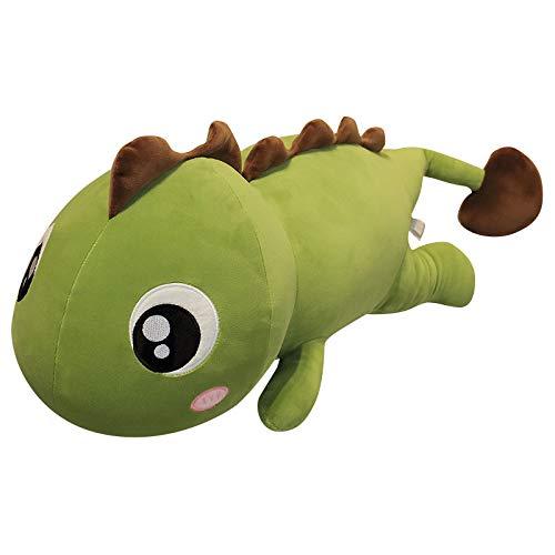 Lindo Dinosaurio Peluche Peluche Cama para Dormir Peluche Almohada Súper Suave Muñeca [Versión Grasa] Aleta Dorsal Verde-marrón 120 cm