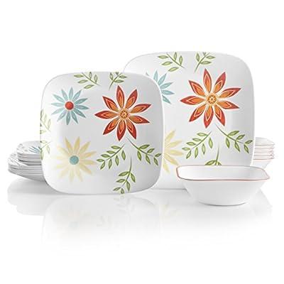Corelle Service for 6, Chip Resistant, Happy Days Dinnerware Set, 18-Piece