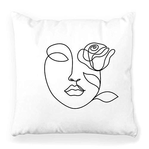 Zhengzho Cuadrado decorativo de 18 x 18 cm, diseño de mujer con rosa, dibujo continuo, femenino, silueta abstracta, amor, contorno, niña, icono, decoración del hogar, cremallera, funda de almohada