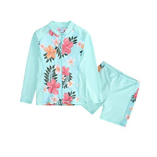 PROTAURI Meisjes Twee Stuk Badpak - Lange Mouwen Bloemen UPF 50+ Rash Guard Set Kids Bikini Sets voor 4-12 Jaar Blauw