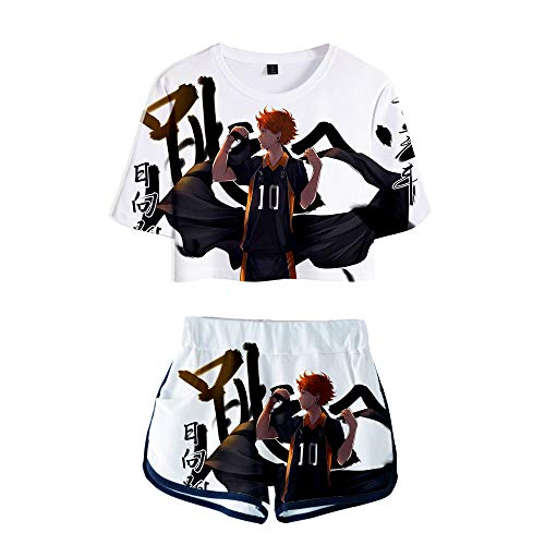 Haikyuu!! Conjuntos Deportivos para Mujer Chándales Deportiva Camiseta y Pantalones Crop Top Deportiva Corto T-Shirt Verano para Yoga Fitness