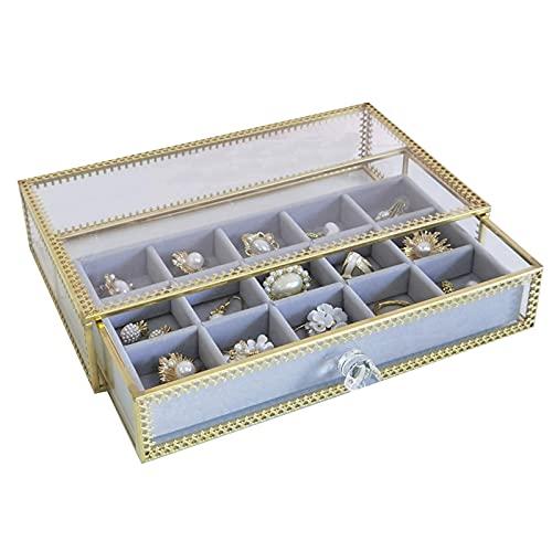 Chytaii - Joyero de cristal y caja de gran capacidad de joyería de terciopelo, para pendientes, anillos, collares, pulseras