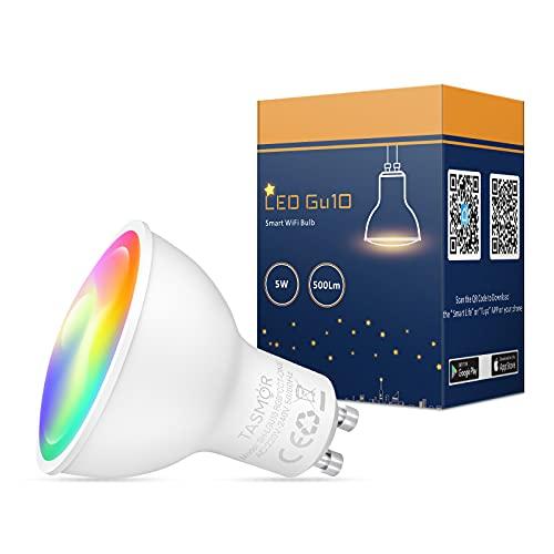 Ampoule Connectée WiFi GU10, TASMOR LED Ampoule Intelligente avec Alexa et Google Home, 5W 500LM Ampoule Multicolore Blanc Chaud et Blanc Froid, Commande Vocale 1PCS Pour Maison/Décoration/Bar