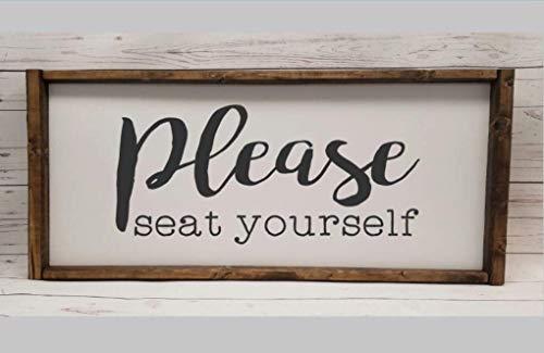Please seat yourself, Farmhouse sign, rustic decor, fixer upper style, funny bathroom decor art, kid or master bathroom, wash your hands