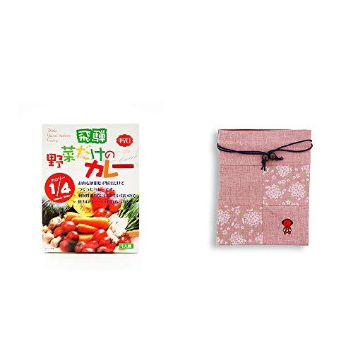 [2点セット] 天領食品 野菜だけのカレー 【中辛口】 (1食分)・おねがいさるぼぼ 巾着【ピンク】