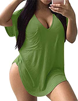 ALLEGRACE Womens Casual Scoop Collar Plus Size T Shirts Summer Tops Tee Avocado Green XXXL