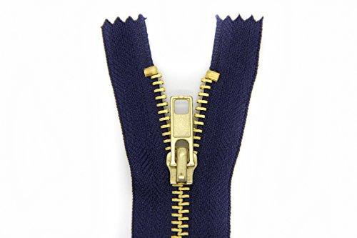 NTS Nähtechnik 1 Reißverschluss für Jeans mit 5mm Breiten Metall-Krampen (Dunkelblau, 16)