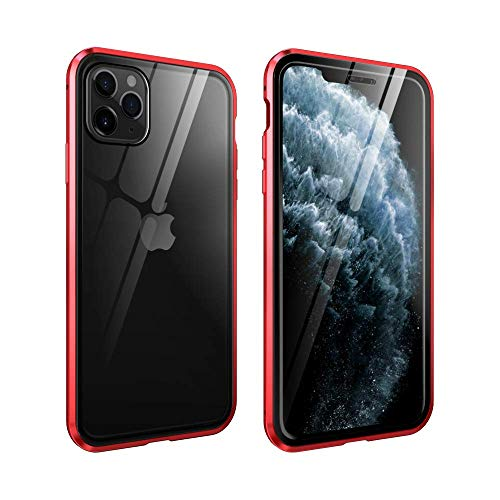 Magnetic Case for iPhone 11 Pro Max Case with Clear Screen Protector Double Sided Tempered Glass Metal Bumper 360 Full Body Protection Case (iPhone 11 Pro Max, Red)