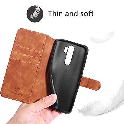 GoodcAcy Xiaomi Redmi Note 8 Pro Hülle+Panzerglas Schutzfolie,Premium Leder Flip Schutzhülle Handyhülle Tasche Flip Hülle Brieftasche Etui handyhüllen für Xiaomi Redmi Note 8 Pro,Braun