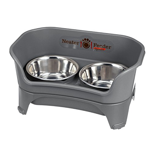 Neater Feeder Express (Medium to Large Dog, Gunmetal) - with Stainless Steel, Drip Proof, No Tip and Non Slip Dog Bowls and Mess Proof Pet Feeder