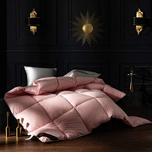 Single Duvets 10.5 Tog All SeasonWithout the Weight White Goose Feather and Down Duvet 100% Cotton Shell Anti-dust mite-Feather-proof Fabric -Anti-allergy-pink_200x230cm-3000g