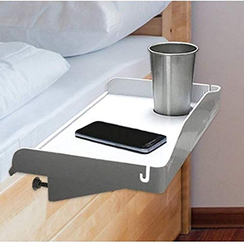 Bedside Shelf for Bed – College Dorm Room Clip On Nightstand with Cup Holder & Cord Holder - Nightstand for Students – Bunk Bed Shelf for Top Bunk – Kids Nightstand for Bedroom (Plastic, White)